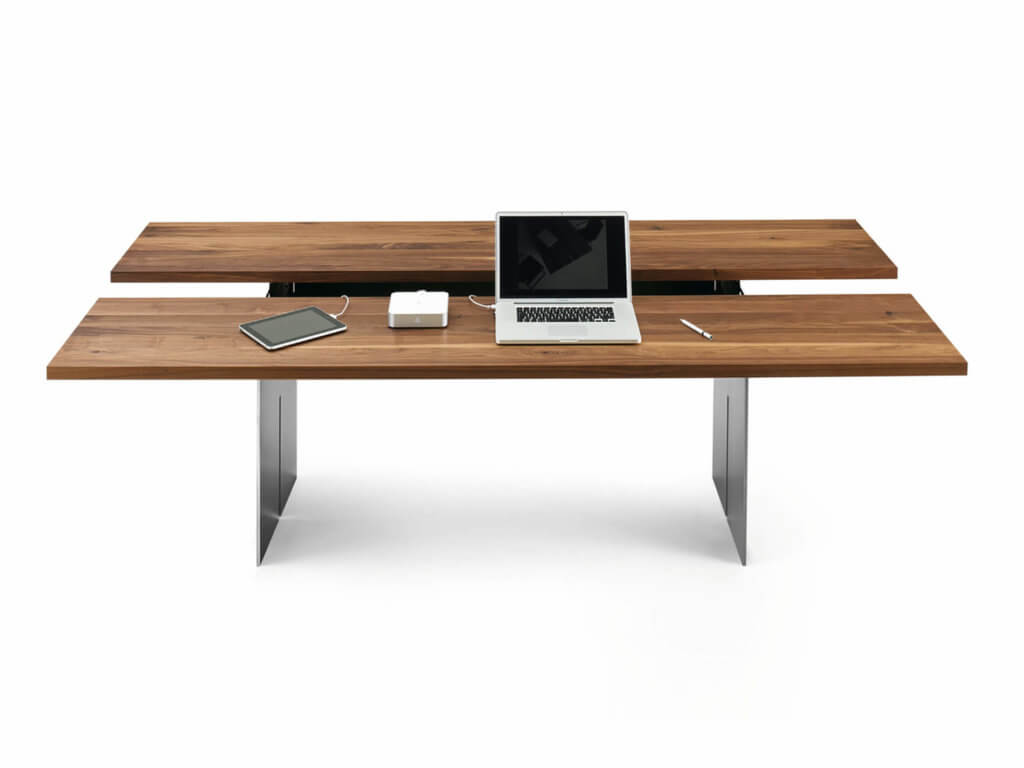 Tisch APP | amerik. Nussbaum massiv | absenkbar | Fuss SLOT Rohstahl