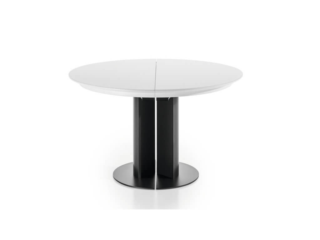 Table ELA | round glass | pull-out closed | foot Rondo | footplate black lacquered