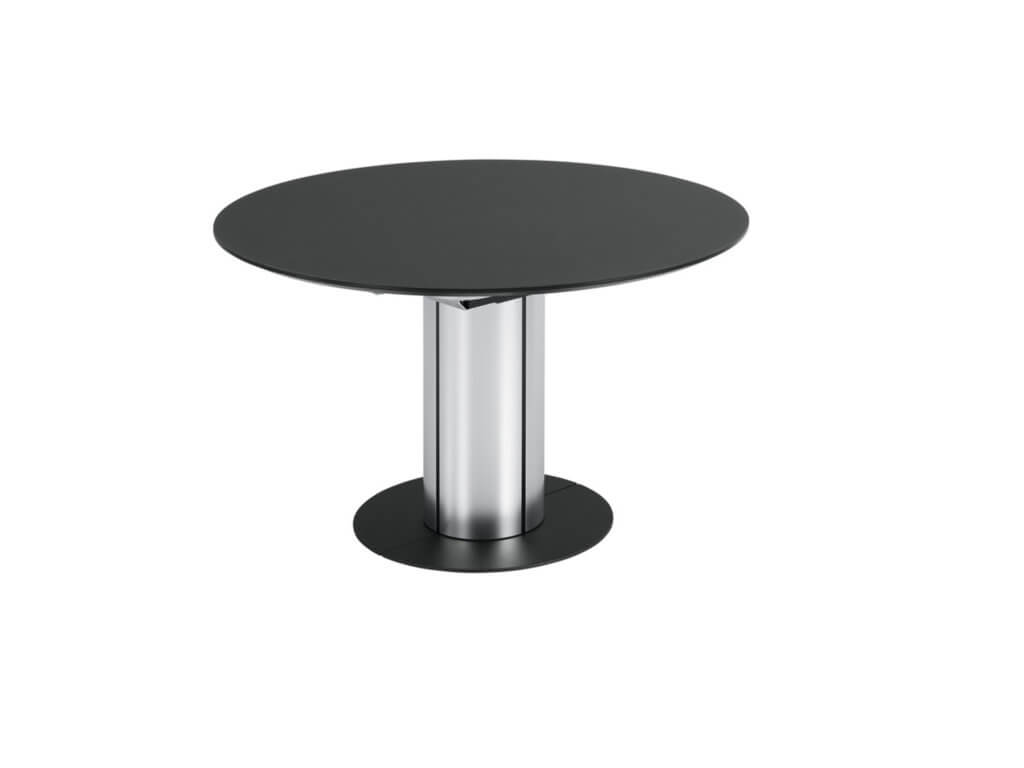 Table ELA | round glass | Foot Alu | foot plate black lacquered