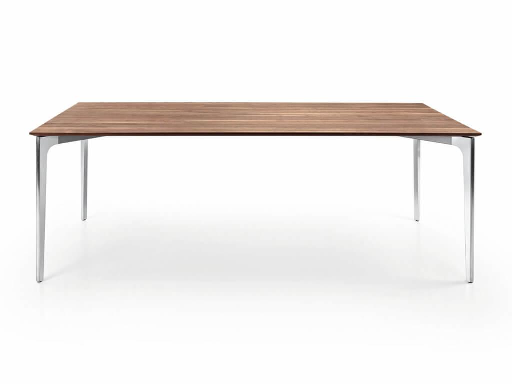 Tisch ELEGANCE | amerik. Nussbaum | Fuss Aluguss poliert