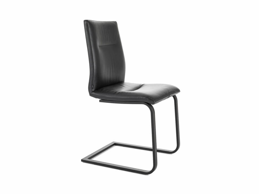 Stuhl MONA | Freischwinger Flachrohr | schwarz lackiert
