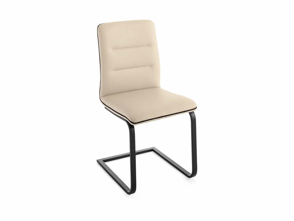 Stuhl LINDA | Freischwinger Flachrohr | schwarz lackiert