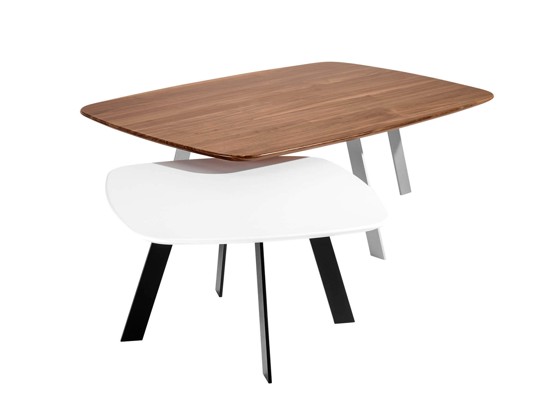 SERVA salon tables | american walnut solid | lacquered MDF | flat steel base