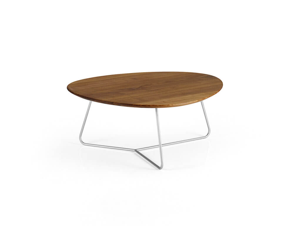 AYRA DRAHT salon table | american walnut solid | coloured wire frame